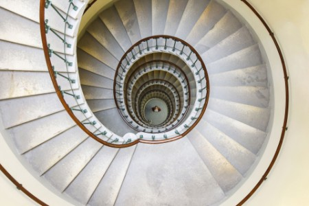 View down spiral staircase