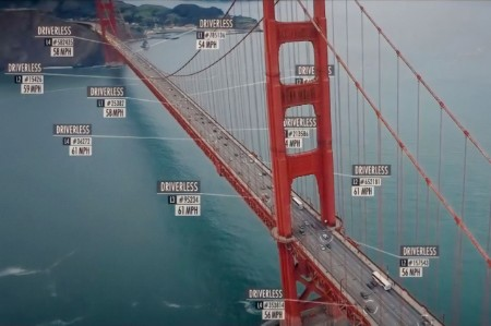 Golden Gate Bridge with driverless transport icons