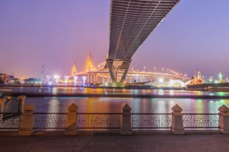 Bhumibol highway bridge twilight under view