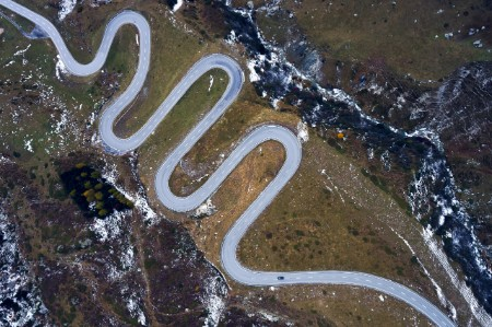 A long, tangled road in Switzerland.