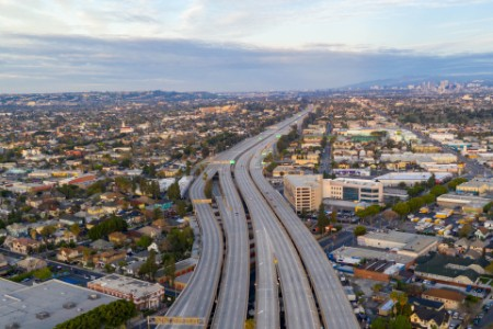 Empty freeway streets downtown los angeles california usa