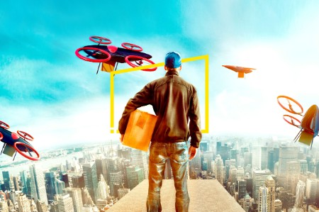 futuristic city with delivery person sending off drones static