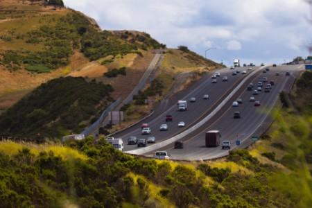 Tilt shift image of traffic on a highway