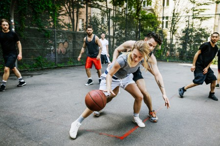 Athlete Defending Her Position Basketball