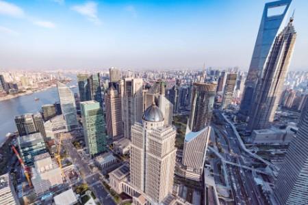 Aerial view shanghai city center evening