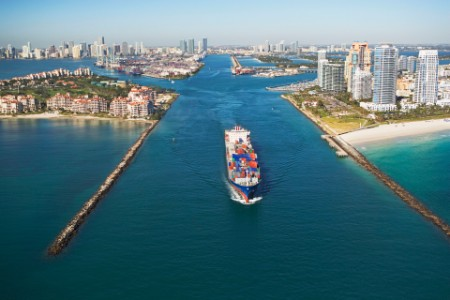 Aerial view waterfront city cargo ship