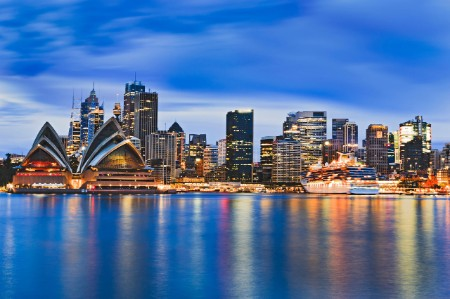Cityscape Sydney city CBD Harbour sunrise