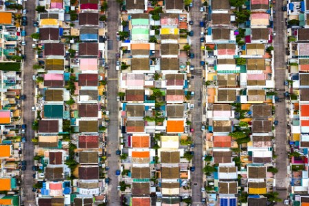 colorful row housing