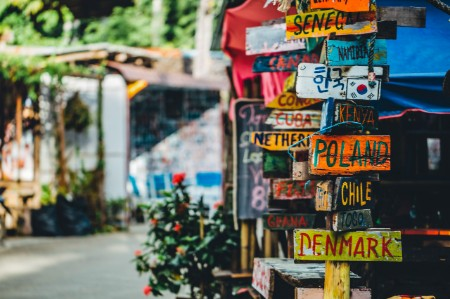 colorful signpost different countries