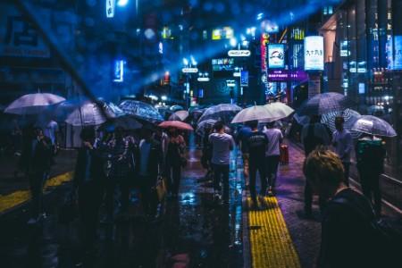 Crown night Tokyo rain