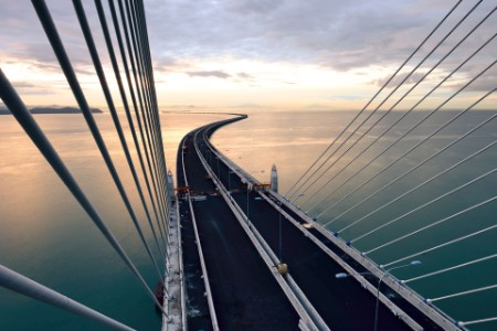High angle view of penang second bridge