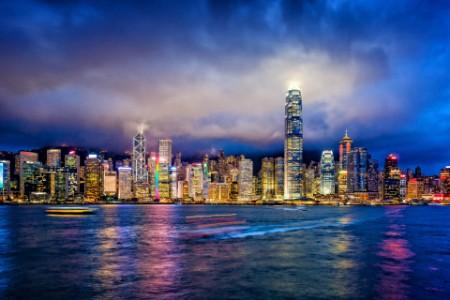 香港金融區暮色