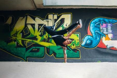 Man performing breakdance tricks