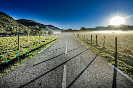 Misty road Pyrenees Atlantique France