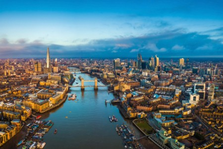 Panoramic aerial skyline London