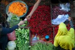 People Exchanging Money Vegetables Market Stall