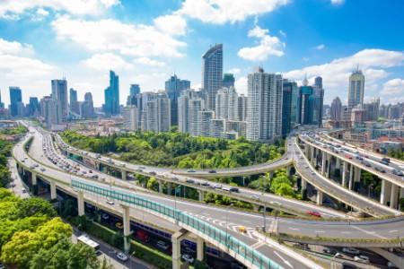 Road junction buildings shanghai blue cloud sky