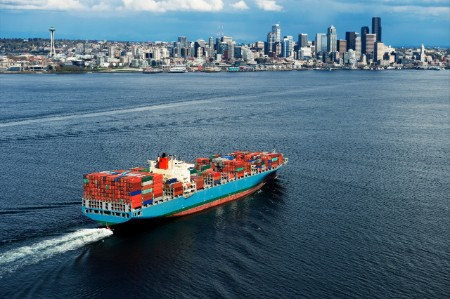 Aerial view container ship seattle usa