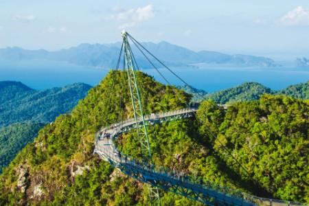 Breathtaking aerial view with sky bridge Malaysia