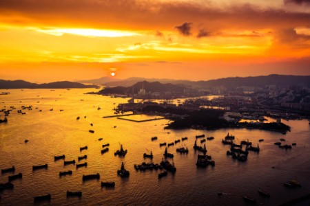 Cargo port and harbor in Hong Kong city