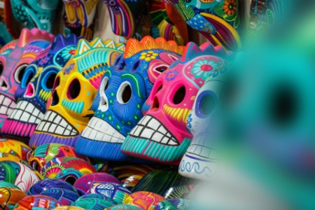 Colourful skull at street markets