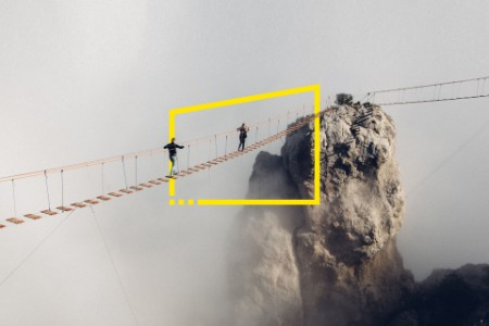 people rope bridge yalta fog
