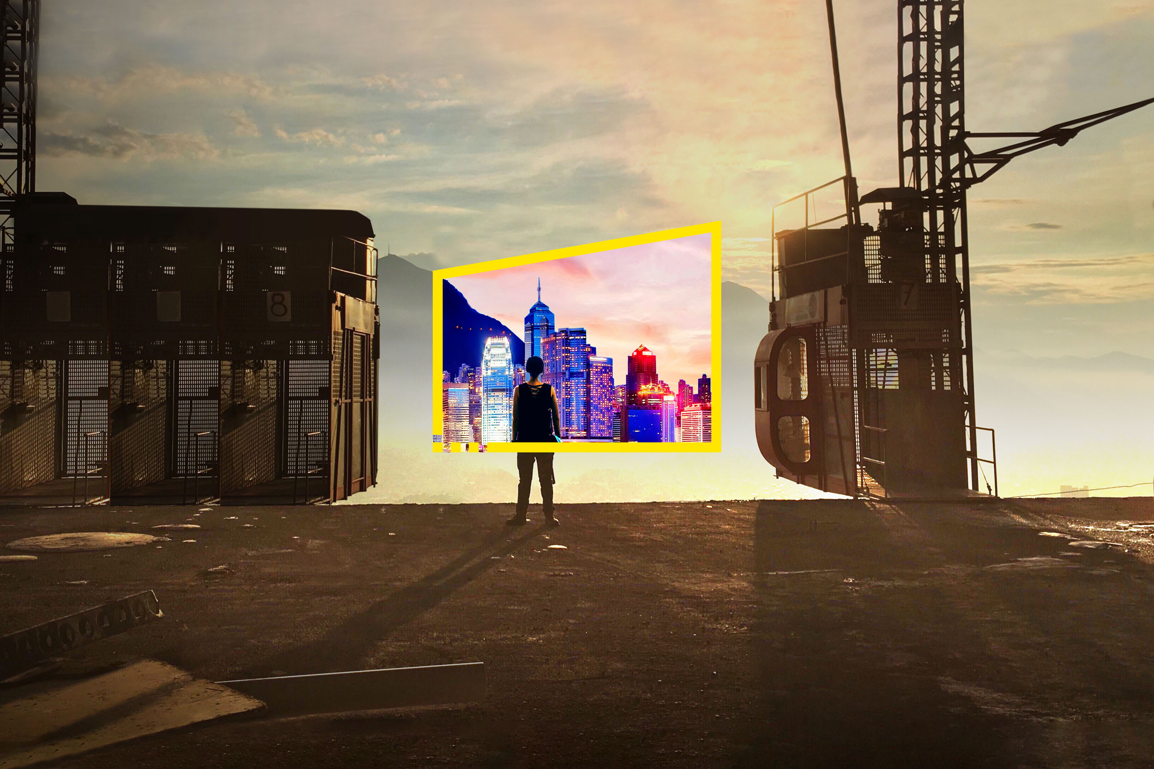 Reframe your future building site neon city