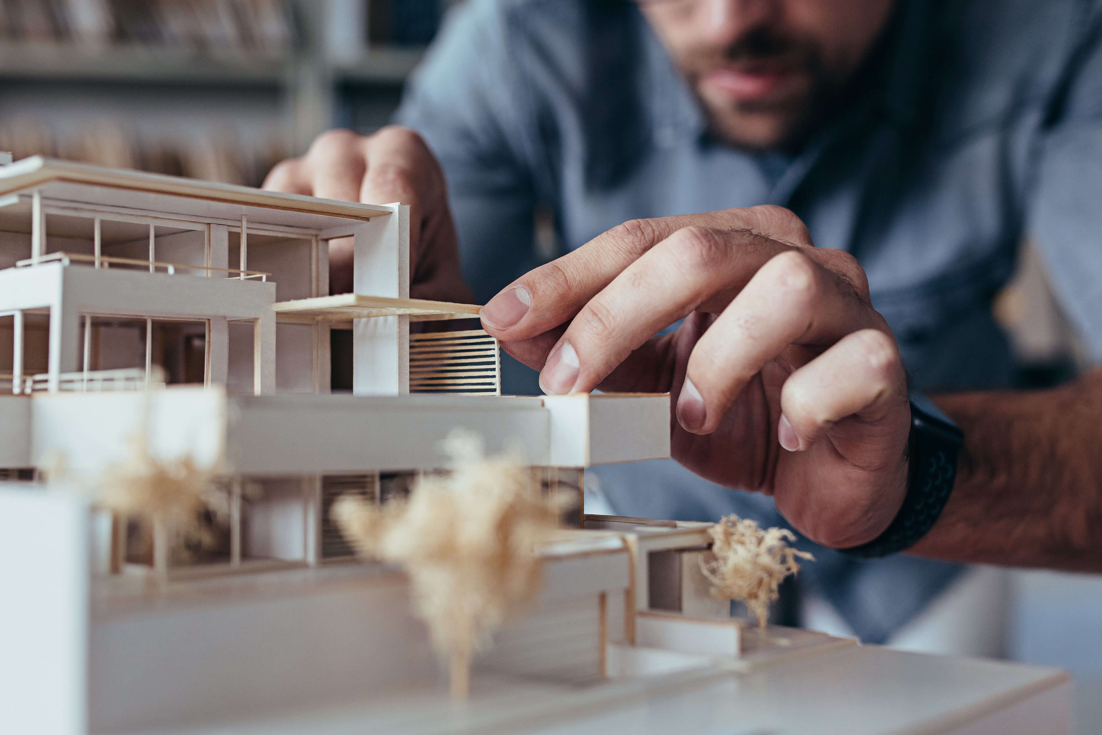 Architect building a model