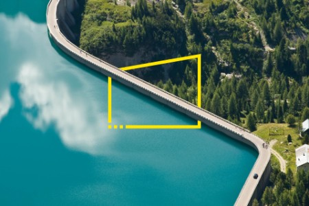 Dam at end of Fassa Valley in Dolomites