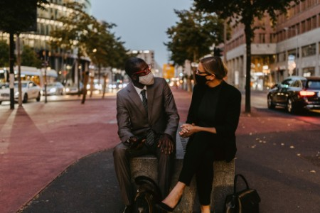 Man and woman on city street
