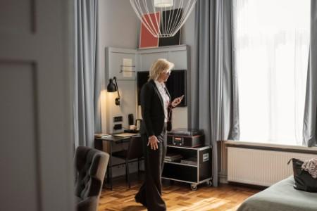Woman standing infront of door