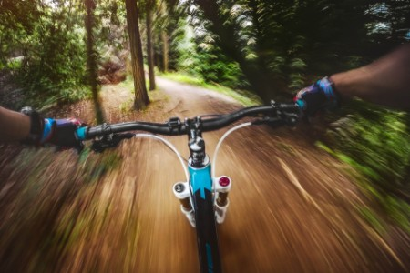 Mountain biker riding a fast trail in a forest