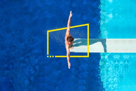 Diver jumping from a springboard