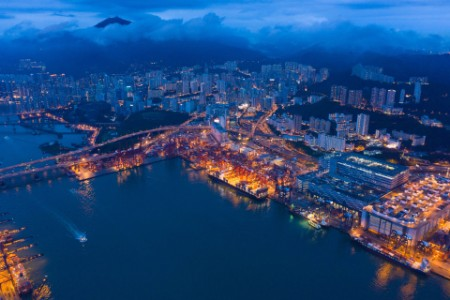 Aerial top view of container cargo ship in hong kong harbour