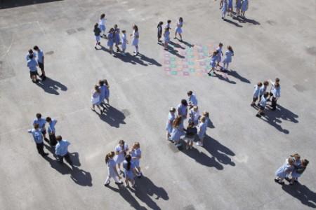 Groups of children on playground