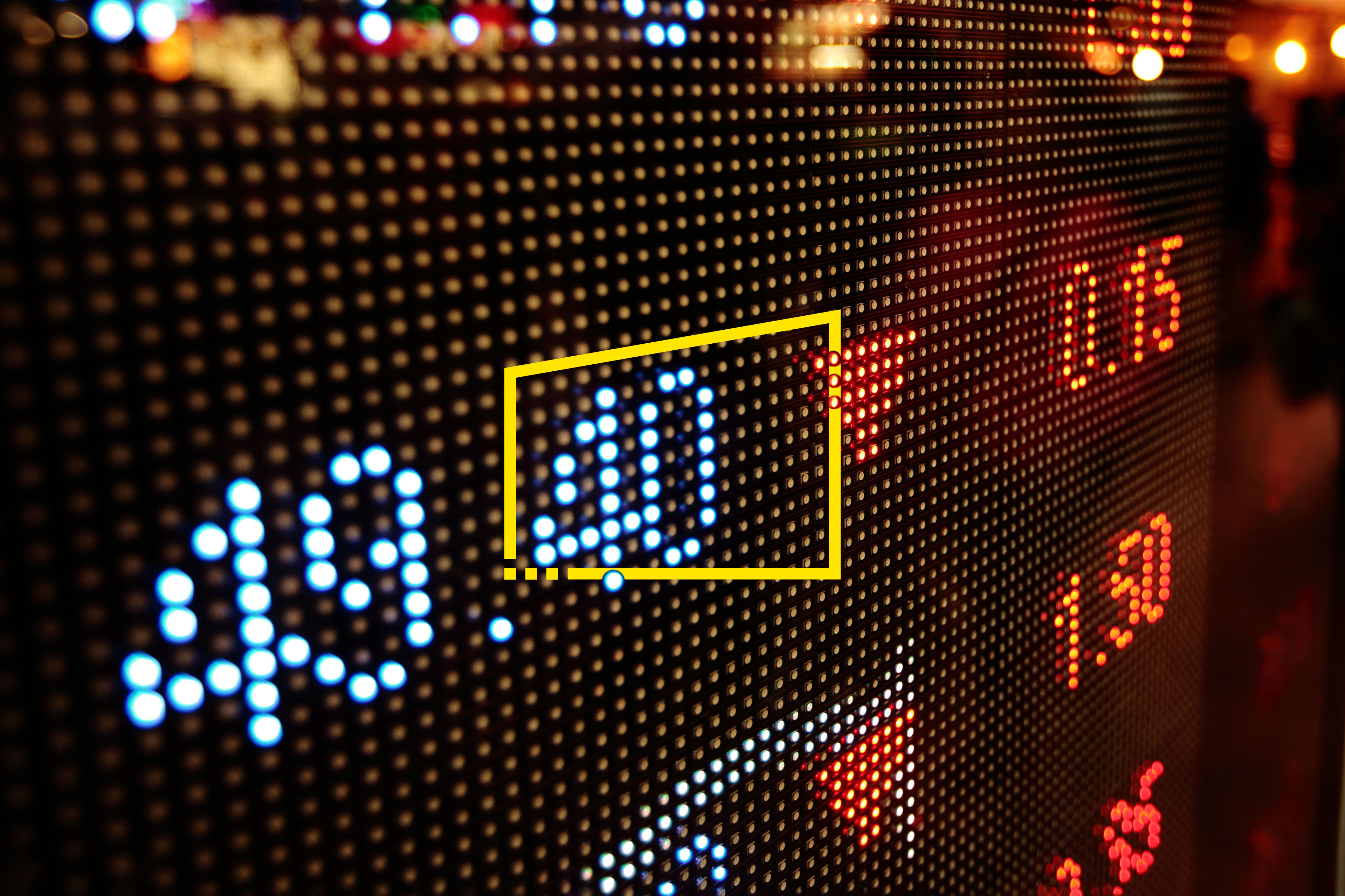 Stock market charts in window