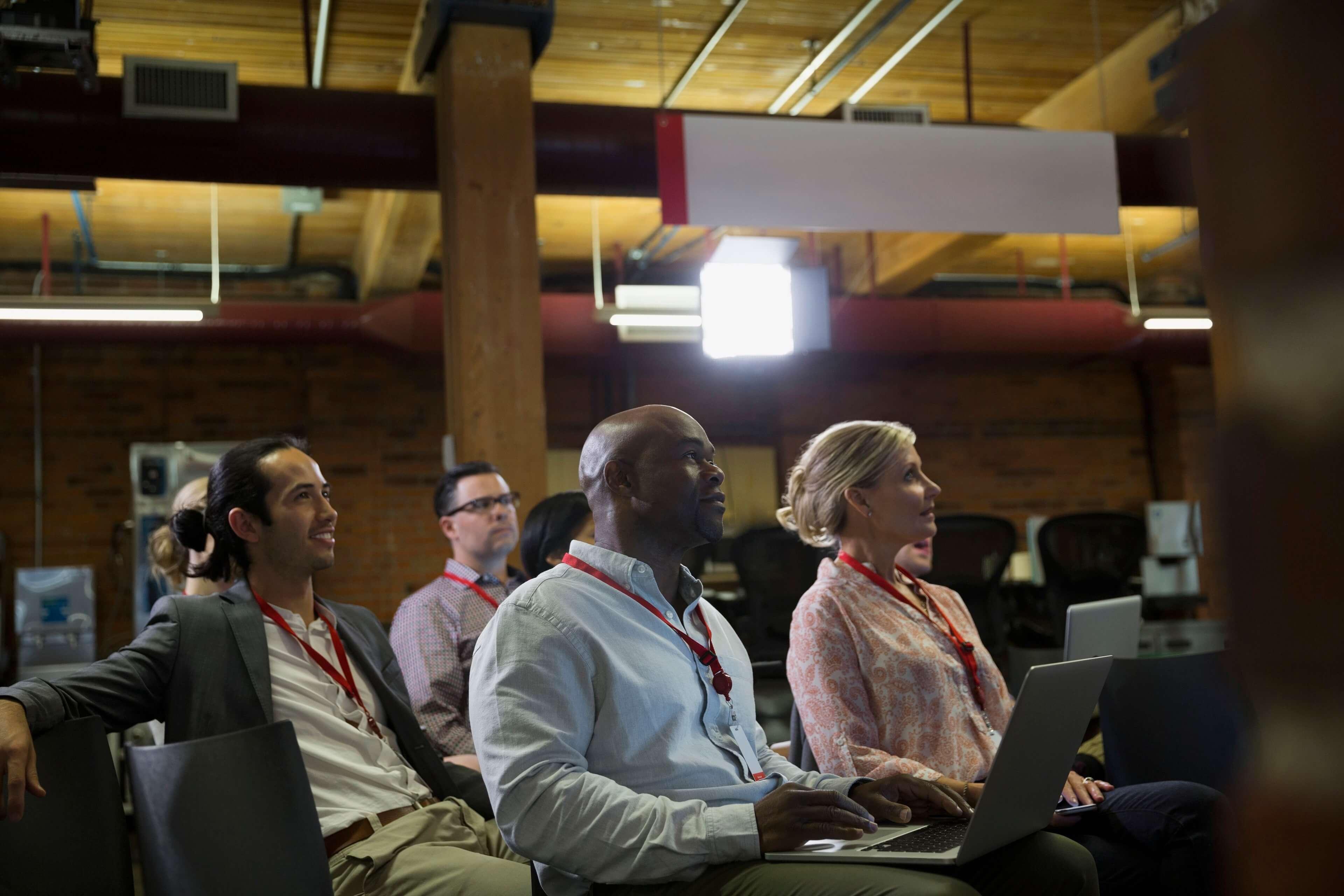 Entrepreneurs at a digital conference
