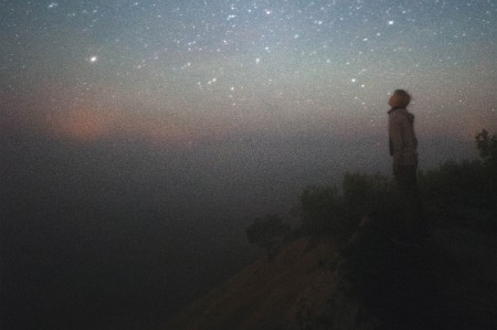 person looking starry sky