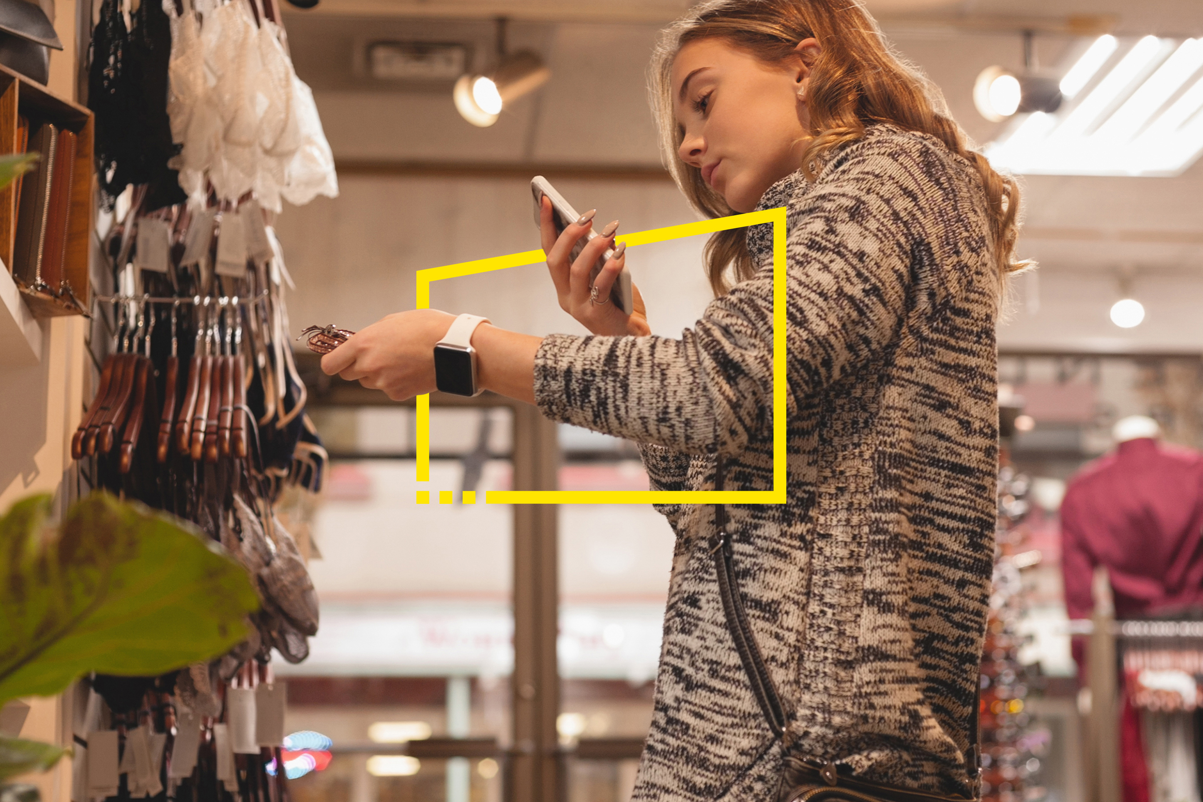 teenager shopping smart phone static