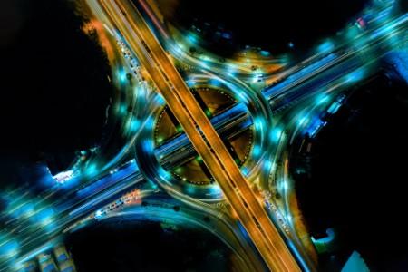arial view of modern expressway circle
