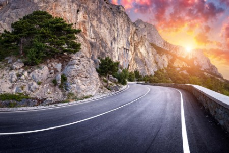 landscape with beautiful winding mountain road