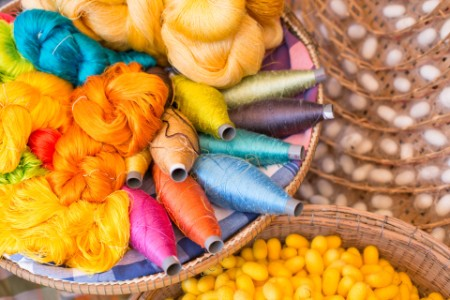 Colorful silk thread and silkworm cocoons nests