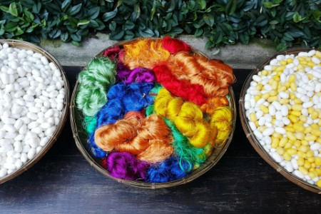 Detail of basket of colored silk