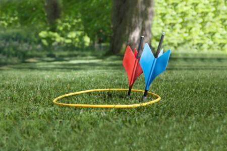 vintage lawn darts in the garden