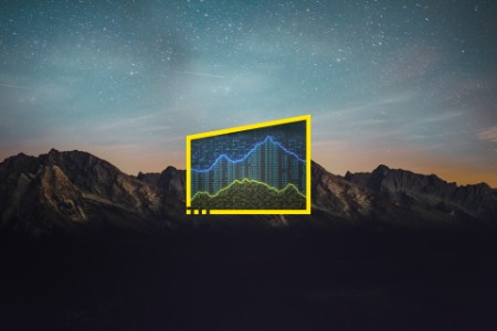 Encrypted spreadsheet with financial figures and graph starry night background