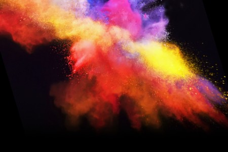 yellow red purple powder paint explosion