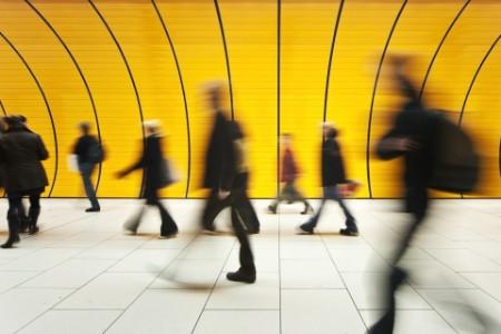people walking speed corridor tunnel