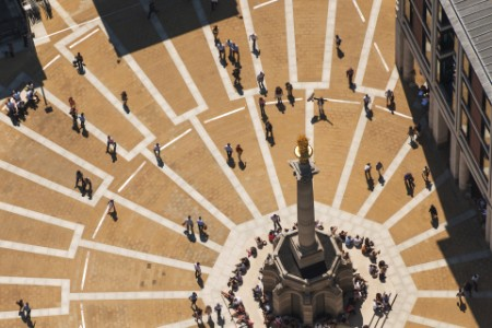 elevated view paternoster square people walking