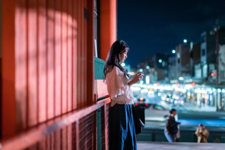 Asian woman traveling in Kyoto with a mobile phone