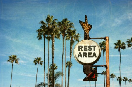 Vintage Rest Area sign against sky and palm trees
